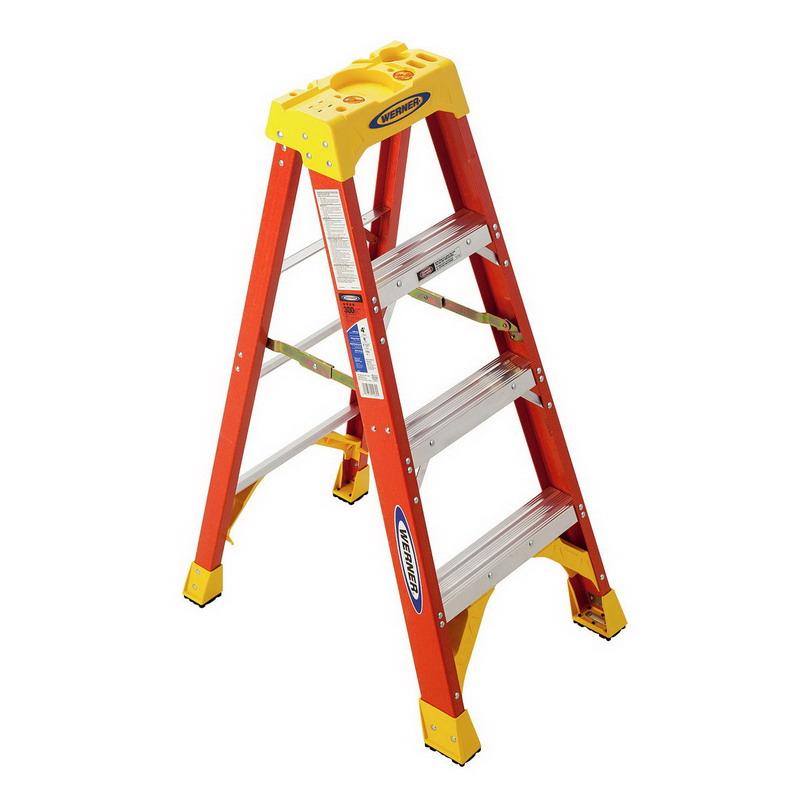 Werner 6204 Type IA Step Ladder; 4 ft, 300 lb, Fiberglass, Steel Spreader