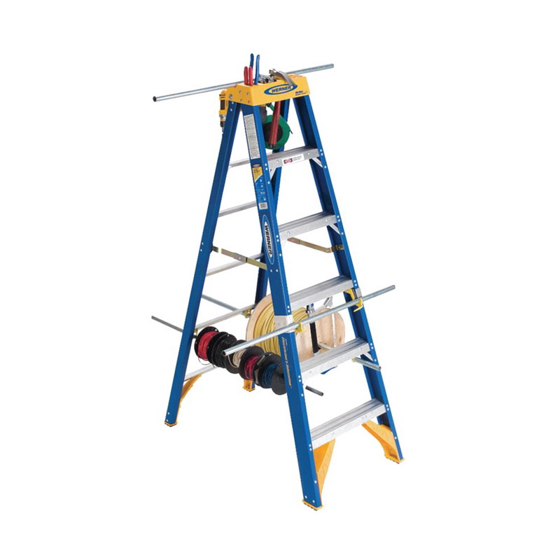 Werner OBEL06 Old Blue OBEL00 Series Type IAA Electrician's Jobstation Step Ladder; 6 ft, 375 lb, Fiberglass
