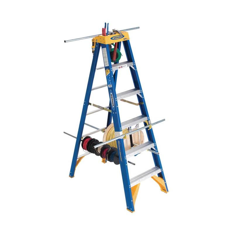 Werner OBEL08 Old Blue OBEL00 Series Type IAA Electrician's Jobstation Step Ladder; 8 ft, 375 lb, Fiberglass
