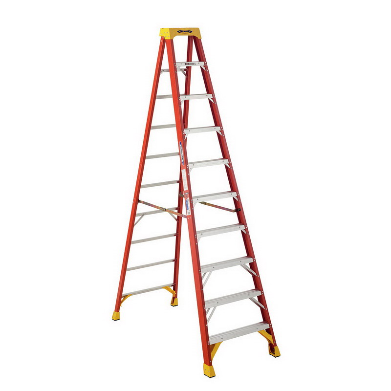 Werner 6210 Type IA Step Ladder; 10 ft, 300 lb, Fiberglass, Steel Spreader