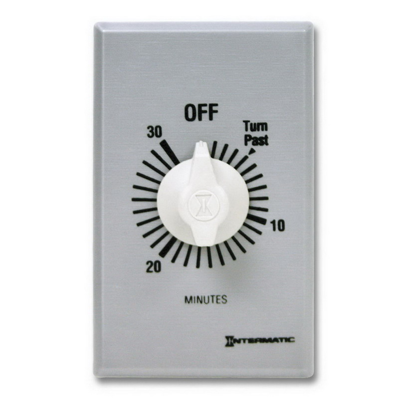 Intermatic FF30MC FF Series Auto-Off Springwound Timer Switch; 30 min, Brushed Metal, SPST