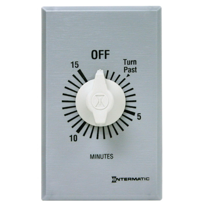Intermatic FF15MC FF Series Auto-Off Springwound Timer Switch; 15 min, Brushed Metal, SPST