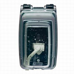 Intermatic WP1010C Guardian 1-Gang While-In-Use Weatherproof Receptacle Cover With FlexiGuard Insert; 3-1/8 Inch, Rectangular, Vertical Mount, Heavy-Duty Polycarbonate, Clear