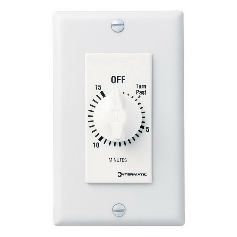 Intermatic FD15MWC FD Series Auto-Off Decorator Springwound Timer Switch; 15 min, White, SPST