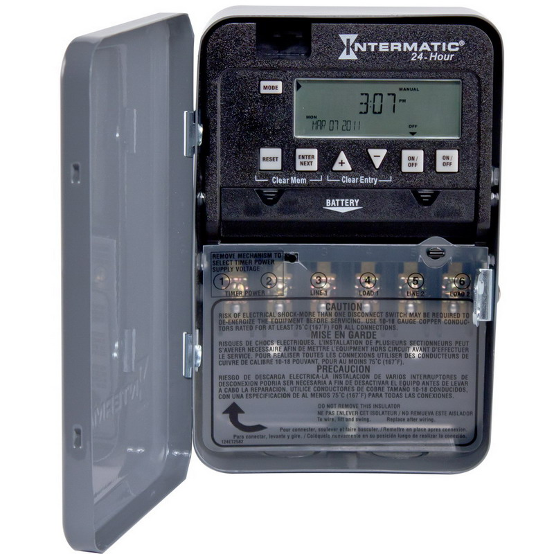 Intermatic ET1125C Electronic Timer Switch; 1 min to 23 Hour 59 min, Gray, SPST/DPST, 120/208/240/277 Volt AC