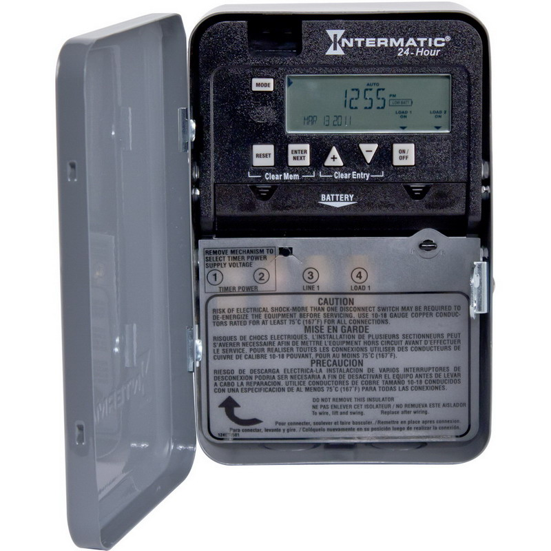 Intermatic ET1105C Electronic Timer Switch; 1 min to 23 Hour 59 min, Gray, SPST, 120/208/240/277 Volt AC