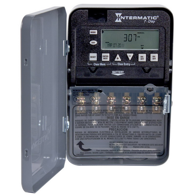 Intermatic ET1725C 7-Day Electronic Timer Switch; 1 min to 23 Hour 59 min, Gray, SPST/DPST, 120/208/240/277 Volt AC