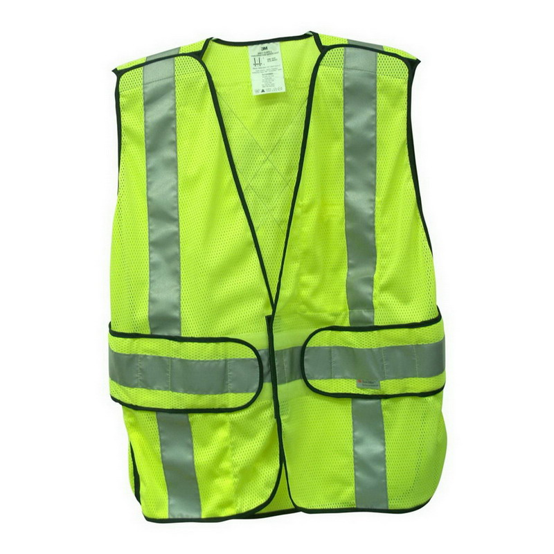 3M 94617-80030T-EA Tekk Protection™ High-Visibility Reflective Safety Vest; Fluorescent Yellow with Silver Scotchlite Trim