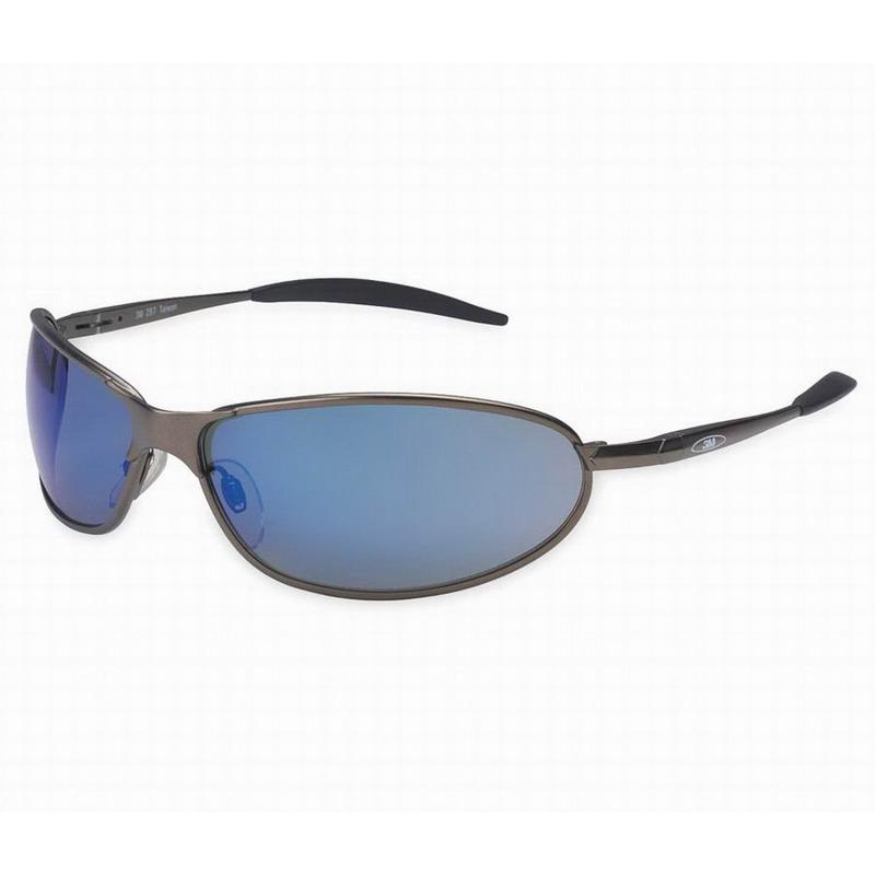 3M 11556 Metaliks™ GT Protective Eyewear; Universal, Metallic Gray and Black Frame, Blue Mirror Lens