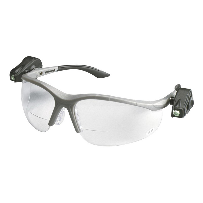 3M 11476-00000-10 Light Vision™ 2 Anti-Fog Protective Eyewear With LED Lights; Standard, Gray Frame, Clear Lens, Case of 10