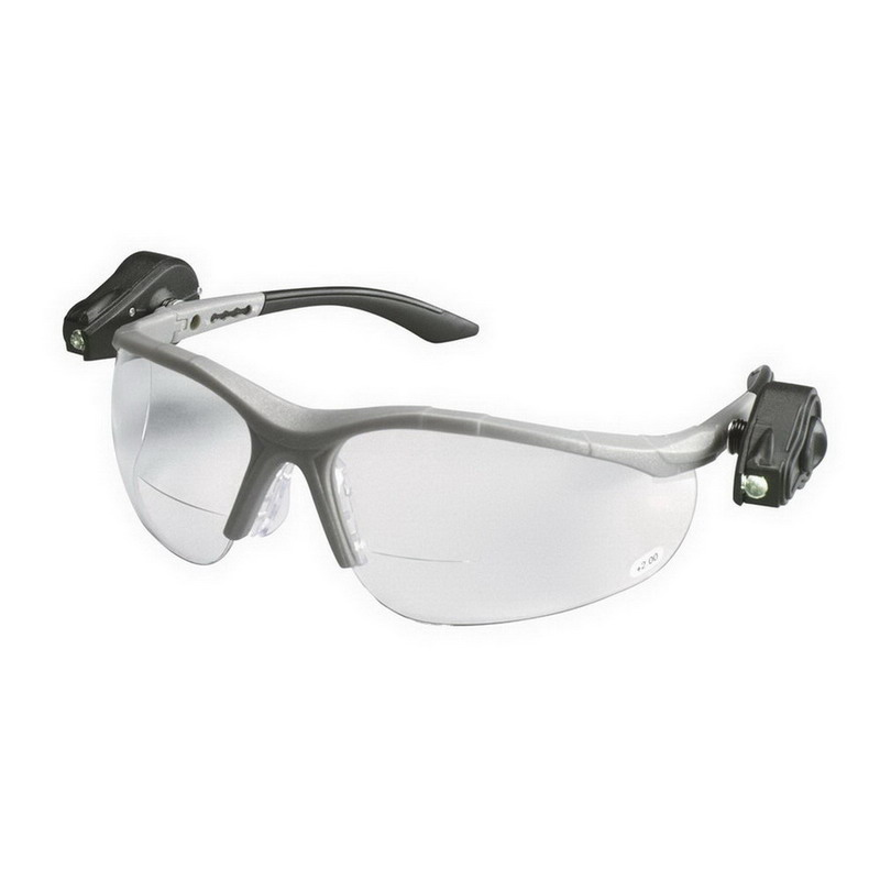 3M 11476 Light Vision™ 2 Anti-Fog Protective Safety Eyewear With LED Lights; Standard, Gray Frame, Clear Lens