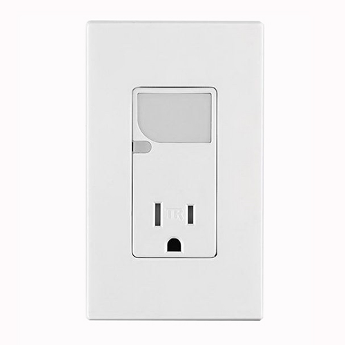 Leviton T6525-W Tamper-Resistant Receptacle; 15 Amp, 120 Volt AC, White, Self-Grounding