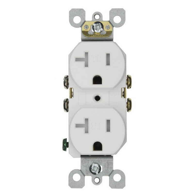 Leviton T5820-W Residential Grade Tamper-Resistant Duplex Receptacle; 20 Amp, 125 Volt, White, Self-Grounding