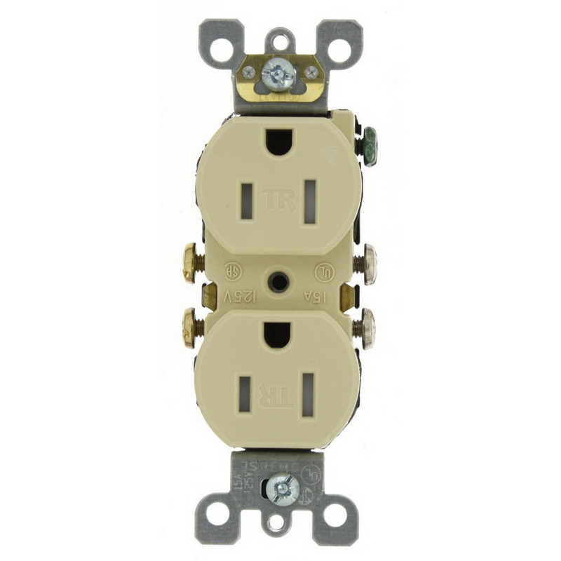 Leviton T5320-SI Residential Grade Tamper-Resistant Duplex Receptacle 15 Amp 125 Volt Ivory Self Grounding