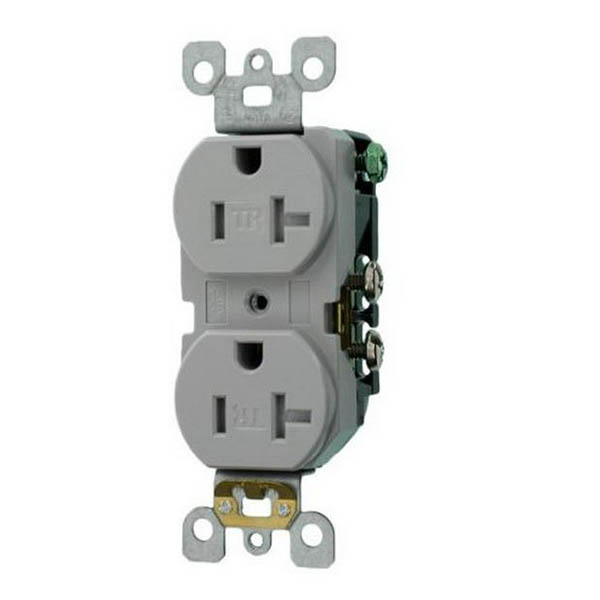 Leviton T5820-GY Tamper-Resistant Duplex Receptacle 20 Amp 125 Volt Gray Self-Grounding