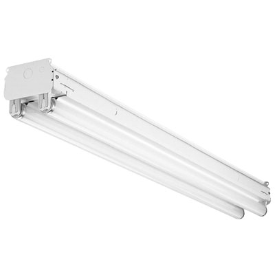 Hubbell Lighting / Columbia CS4-232-EU 2-Light Individual/Row Surface/Suspended Mount Downlighting Straight-Sided Utility Channel Standard Fluorescent Striplight Fixture; 32 Watt, White, 96 Inch Length, Lamp Not Included