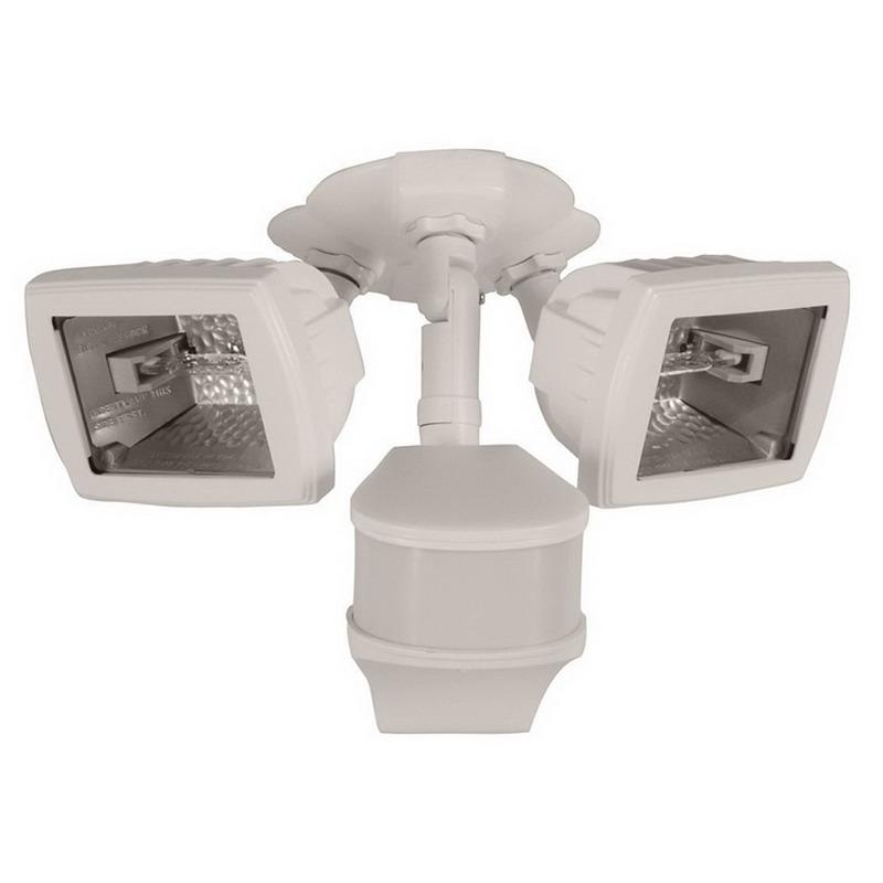Cooper Lighting MS280DW 2-Light Quartz Halogen Motion Security Flood Light; 200 Watt, White