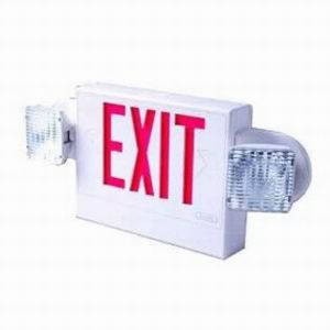 Cooper Lighting APH70RWHDHSQ Sure-Lites Self Powered Double Head Emergency LED Exit Sign With Head; White Housing, Red Letter