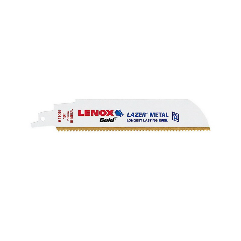 Lenox 21063676GRC Gold™ Wood-Cutting Bi-Metal Reciprocating Saw Blade; 6 Inch, 7/16 Inch, 6 TPI, 5/Pack