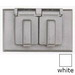 BWF/Teddico FC-81WV 1-Gang Weatherproof Duplex Cover; 4-1/2 Inch x 2-3/4 Inch, Rectangular, Horizontal Mount, Die-Cast, Metal, Powder-Coated, White