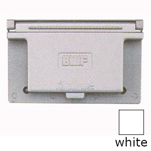 BWF/Teddico FG-1DCWV 1-Gang Weatherproof Raised Cover; 4-9/16 Inch x 2-13/16 Inch, Rectangular, Horizontal Mount, Die-Cast, Metal, Powder-Coated, White