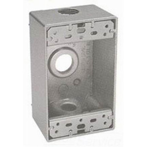 BWF/Teddico B-5V 1-Gang Weatherproof Outlet Box; 1/2 Inch Threaded, 3 Outlets, Surface Mount