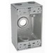 BWF/Teddico B5-2V 1-Gang Weatherproof Outlet Box; 1/2 Inch Threaded, 4 Outlets, Surface Mount
