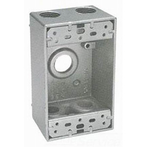 BWF/Teddico B5-22V 1-Gang Weatherproof Outlet Box; 1/2 Inch Threaded, 5 Outlets, Surface Mount