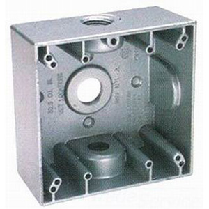 BWF/Teddico TGB-75V 2-Gang Weatherproof Outlet Box; (3) 3/4 Inch Threaded Outlets, Gray, Surface Mount