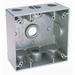 BWF/Teddico TGB-54V 2-Gang Weatherproof Outlet Box; (3) 1/2 Inch Threaded Outlets, Gray, Surface Mount