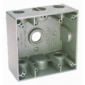 BWF/Teddico TGB75-5V 2-Gang Weatherproof Outlet Box; (5) 3/4 Inch Threaded Outlets, Gray, Surface Mount