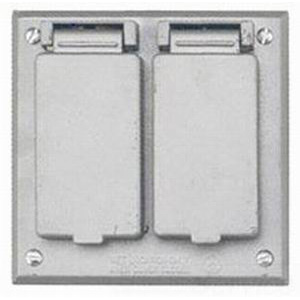 BWF/Teddico FGV-2DCV 2-Gang Weatherproof Cover; 4-9/16 Inch x 4-9/16 Inch, Square, Box Mount, Die-Cast, Metal, Powder-Coated, Gray