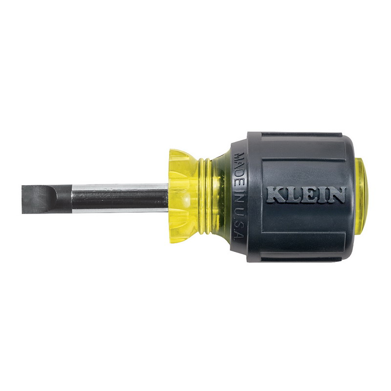Klein Tools 600-1 Cushion Grip Heavy-Duty Screwdriver; 1/4 Inch Keystone Tip, 3-7/16 Inch Overall Length