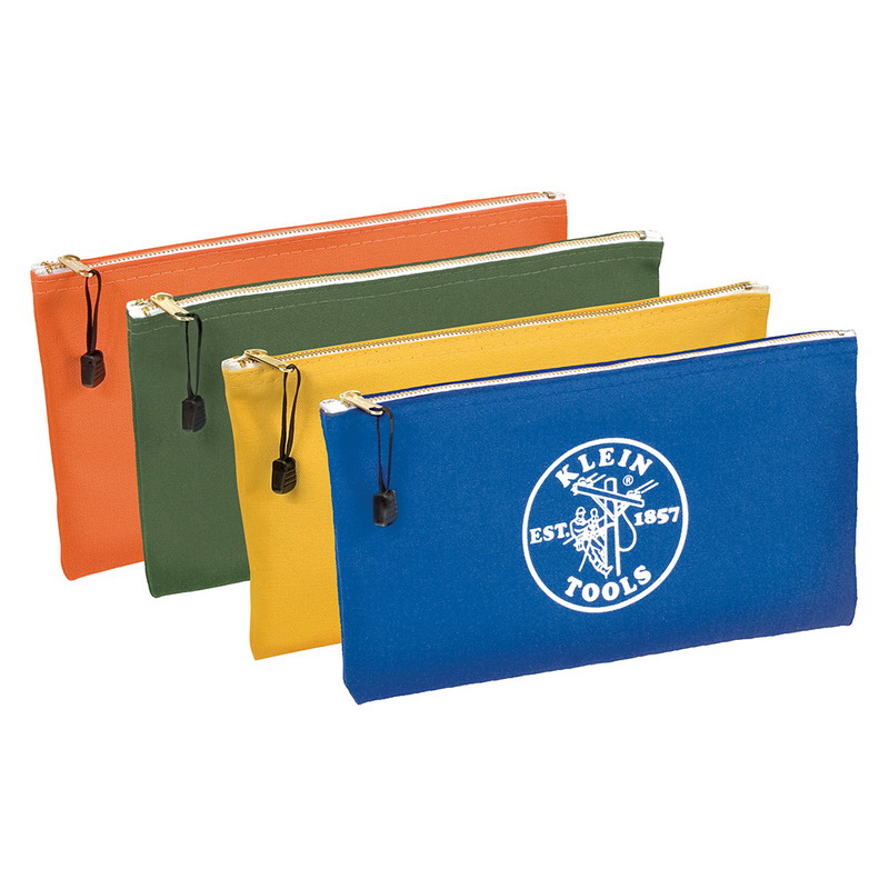Klein Tools 5140 Zipper Bag; Canvas, 4 Pack, Orange/Olive/Yellow/Royal Blue