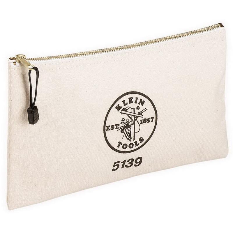 Klein Tools 5139 Zipper Bag; Canvas, White