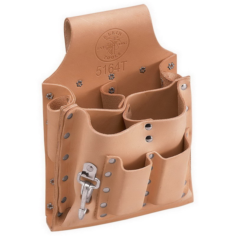 """""""""""Klein Tools 5164T Tool Pouch with Tunnel Loop 2-1/2 Inch Belt Width, Leather, 8 Pockets,"""""""""""" 48013"""