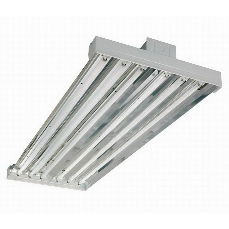 Cooper 6 Lamp High Bay Cooper Lighting HBL654HT5-UPL-L5 6-Light Suspension Mount HBL Series Uplight Fluorescent High Bay Fixture; 54 Watt, White, Lamp Included
