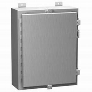 Hammond 1418N4SSO10 1418 N4 SS Series Enclosure With Panel; 304 Stainless Steel, Gray, Hinge Cover, Wall Mount