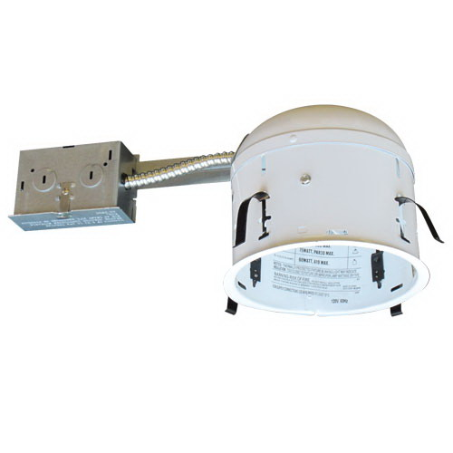 Elco RR9IC 1-Light Line Voltage 6 Inch Shallow Remodel Housing; Stamped Steel Frame, Insulated Ceiling