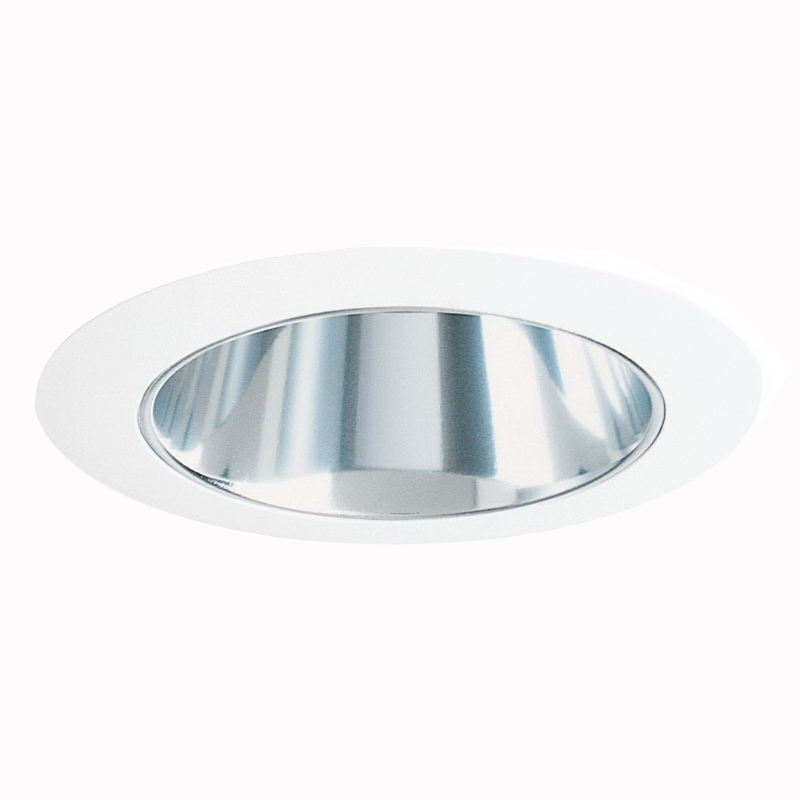 Juno Lighting 447C-WH Recessed Lighting IC and Non-IC Low Voltage 4 Inch Adjustable Cone Downlight Trim With Clear Alzak® Baffle; White Trim