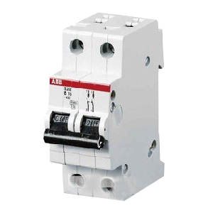 ABB S202-B16 System Pro M compact® Supplementary Protector; 16 Amp, 480Y/277 Volt AC, 2-Pole, DIN Rail Mount