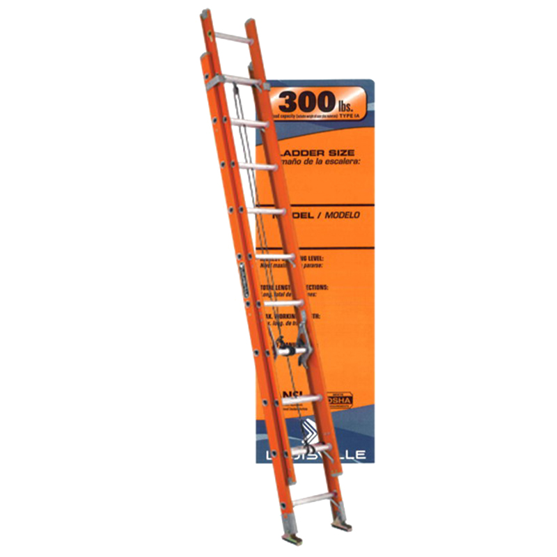 Louisville FE3224 Type IA Two Section Extension Ladder; 24 ft, 300 lb, Fiberglass