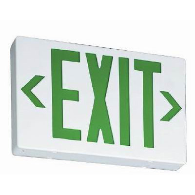 Lithonia Lighting / Acuity EXG-EL-M6 Battery Powered EX Family LED Emergency Exit Sign; Stencil Single Face, Green Letter, White Housing