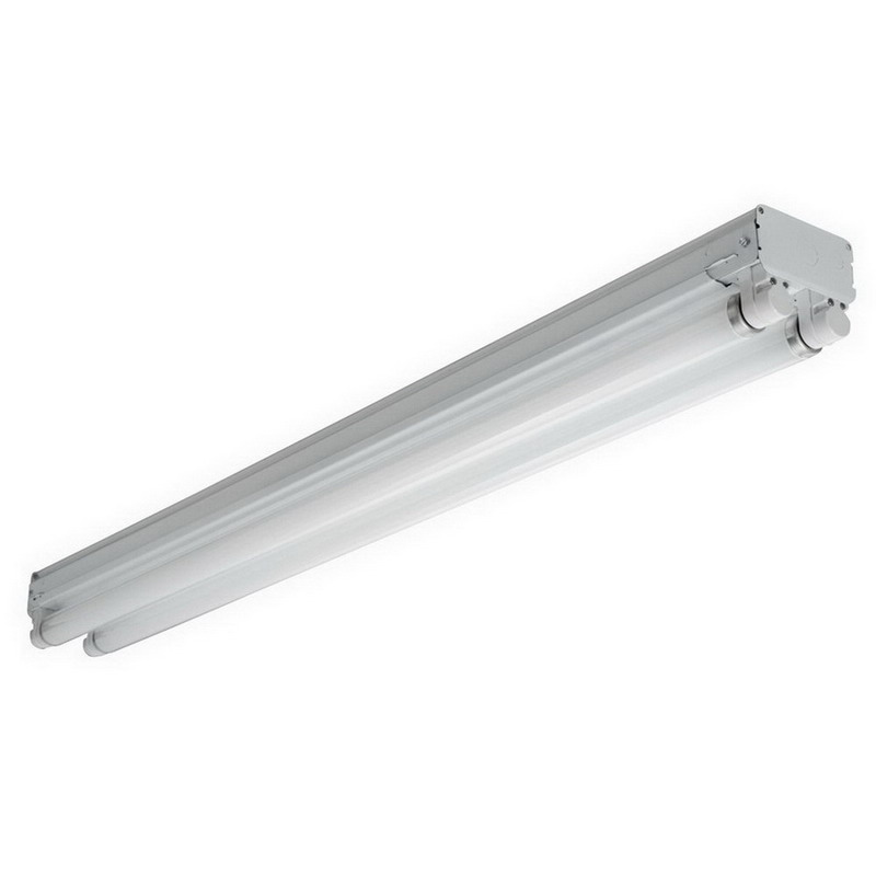 Lithonia Lighting / Acuity UN296HO 2-Light Surface/Suspended Mount Heavy Duty Fluorescent Striplight Fixture; 110 Watt, White, 96 Inch Length, Lamp Not Included