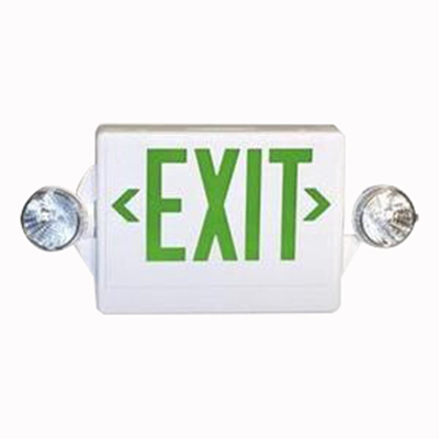 Lithonia Lighting / Acuity LHQM-S-W-3-G Quantum® Quick-Mount® 2 Light LED Combination Emergency Light and Exit Sign; 3.3 Watt, 120/277 Volt, White Housing, Green Letter