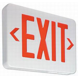 PHILIPS Day-Brite VERWEM VE Series LED Exit Sign; Stencil Face, Red Letter, White Housing