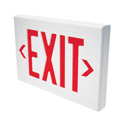 Hubbell Lighting / Dual-Lite LXURW LX Series LED Exit Sign; Single/Double Face, Red Letter, White Housing