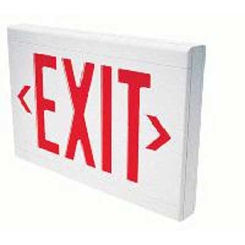 Hubbell Lighting / Dual-Lite LXURWE LED Emergency Exit Sign; Single/Double Face, Red Letter, White Housing