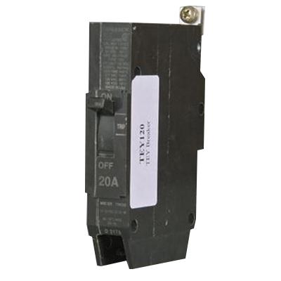 GE Distribution TEY120 Molded Case Circuit Breaker; 20 Amp, 277 Volt AC, 125 Volt DC, 1-Pole, Bolt-On Mount