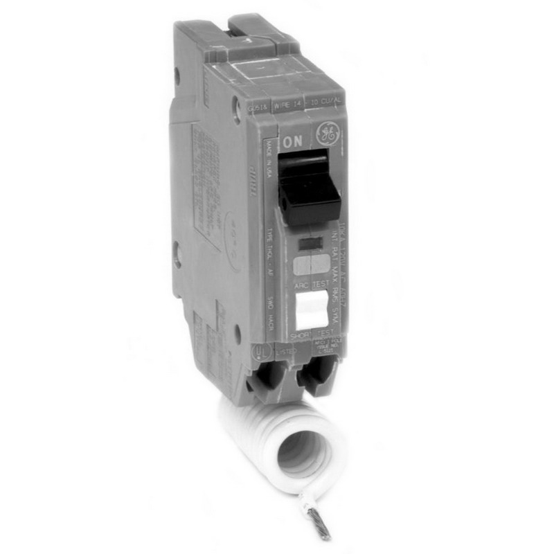 GE Distribution THQL1115AF2 Combination Arc Fault Q-Line Molded Case Circuit Breaker; 15 Amp, 120/240 Volt AC, 1-Pole, Plug-In Mount